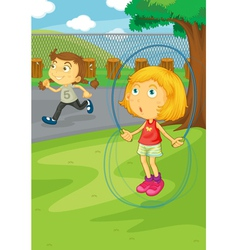 Girls playing in the park vector image vector image