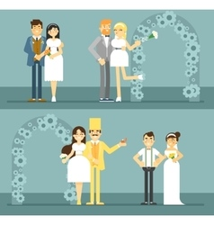 Happy bride and groom couple set vector