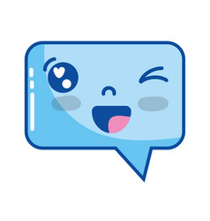 kawaii cute funny chat bubble vector image