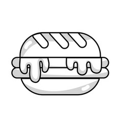 Line delicious hamburger unhealthy fast food vector
