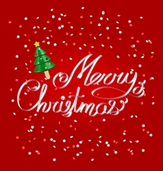 Merry Christmas greetings white ribbon lettering vector image vector image