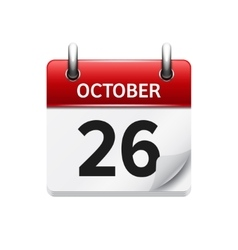 October 26 flat daily calendar icon date vector