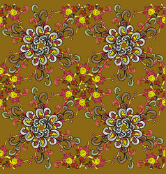 On colorful background beautiful fabric pattern vector