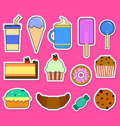 party big set with different sweets - cake ice vector image