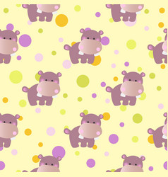 Pattern with cute baby behemoth and circles vector