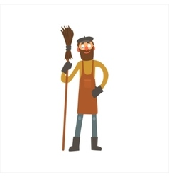 Profession street cleaner vector
