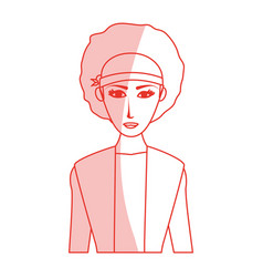 Red silhouette shading cartoon half body woman vector