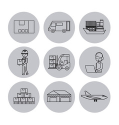 set of icons logistic shipping delivery vector image