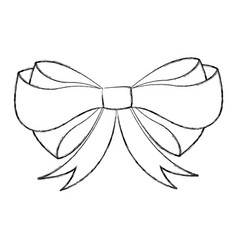 Sketch draw christmas bow cartoon vector