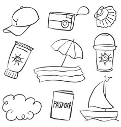 Summer object of doodle style vector