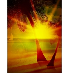Sunset on the beach of sea vector image