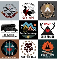Symbols of the national park and open camp vector