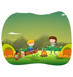 Two men camping out in the field vector image