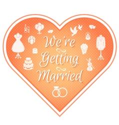 Wedding invitation badge pink vector