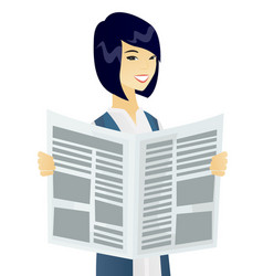 Young asian business woman reading newspaper vector