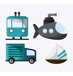 Trolley truck submarine sailboat icon vector