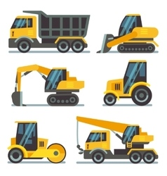 Construction machines heavy equipment vehicles vector