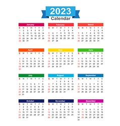 2023 year calendar isolated on white background vector