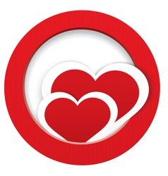 Heart stickers in and out frame vector image