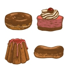 Colored set of doughnut pastry cake eclair vector