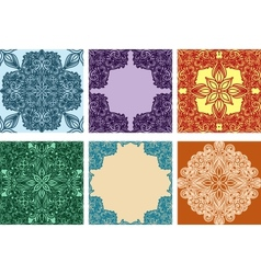 Set of colorful seamless ornaments and frames vector image