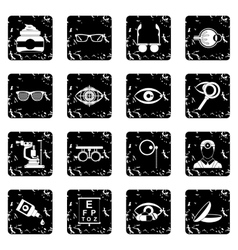 Ophthalmologist tools icons set vector