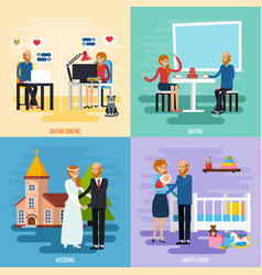 Family relationship character icon set vector