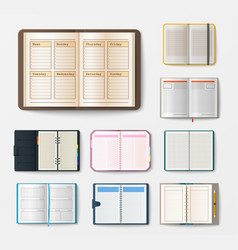Set of open realistic notebooks with pages diary vector