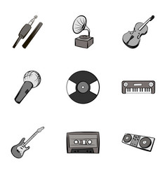 Playing melody icons set gray monochrome style vector