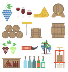 Vine making flat icon set vector