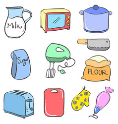 doodle of kitchen accessories style vector image