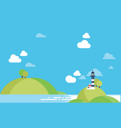Beach landscape lighhouse background copyspace vector