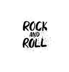 Rock and roll brush lettering vector