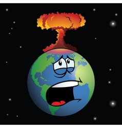 Nuclear weapon exploding on cartoon earth vector
