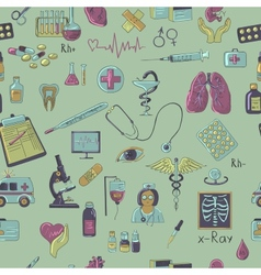 Colored hand draw medicine pattern vector