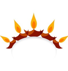 Stylish diwali diya isolated on white background vector