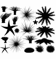 sealife silhouettes vector image