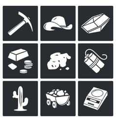 Gold mining icons set vector