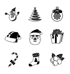 Set of christmas icons - snowman tree sock hat vector