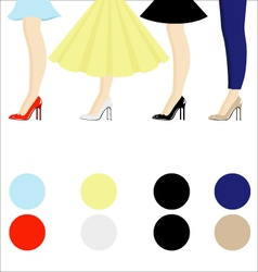 Four female pair legs with shoes assortment vector
