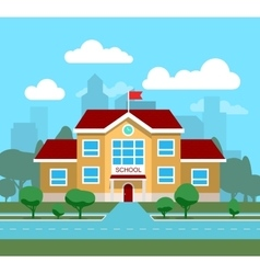 Flat of school building for vector