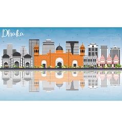 Dhaka skyline with gray buildings blue sky vector