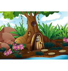 A treehouse at the forest vector