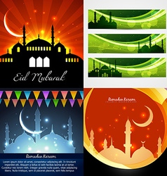 Attractive set of background and banner of eid vector