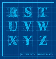 Blueprint style alphabet set 3 vector