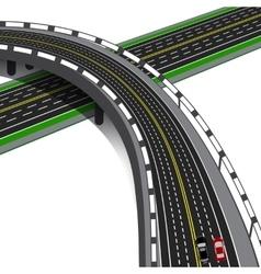 Car overpass crosses the highway road interchange vector