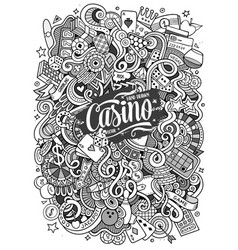 cartoon hand-drawn doodles casino gambling vector image