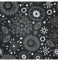 Chalkboard seamless floral pattern vector