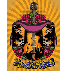 color poster template with guitar speakers and vector image