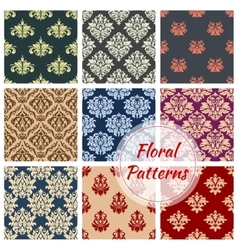 Floral pattern set flowery damask ornament vector image